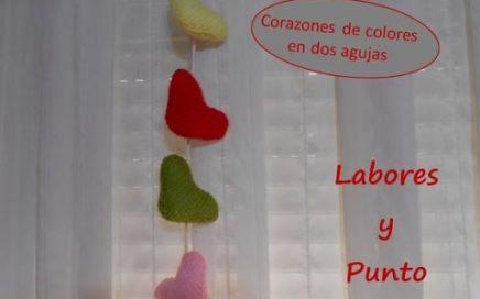 Como tejer corazones pequeños para crear guirnalda de corazones a dos agujas