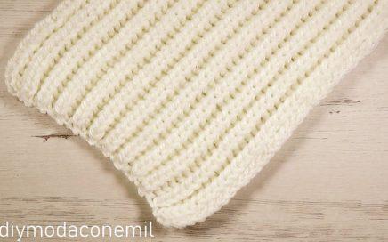 Como tejer esponjosa bufanda de lana a dos agujas fácil paso a paso
