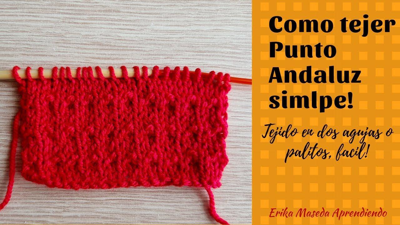 Como tejer Punto Andaluz simple, tejido en dos agujas o palitos, facil!