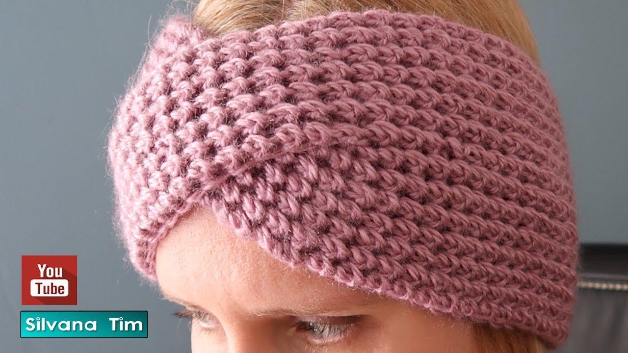 Cómo tejer una DIADEMA / VINCHA / TURBANTE de lana con dos agujas # 914