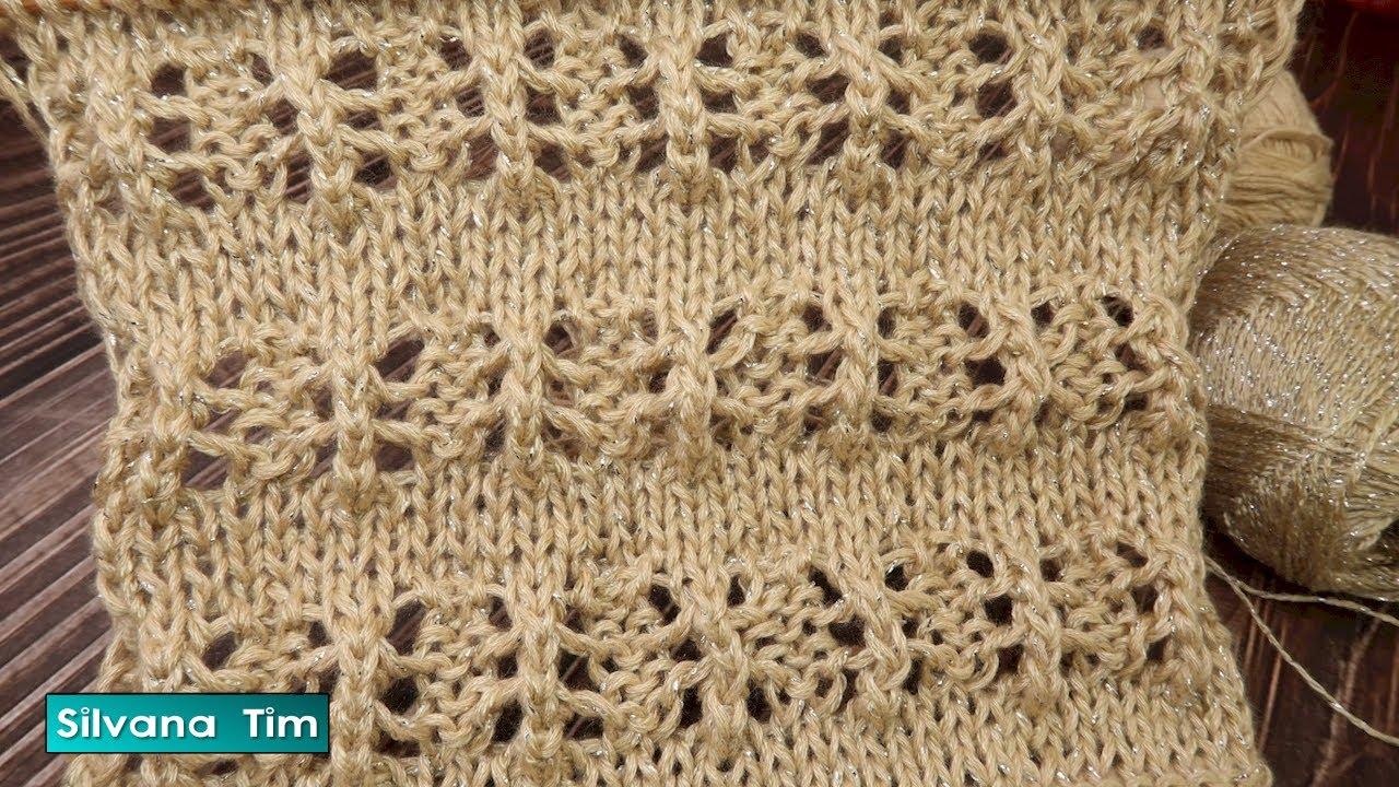 """PUNTO CALADO en 2 AGUJAS FACIL DE TEJER: How to knit. Punto """"RITA"""" para bufanda, jersey № 1011"""